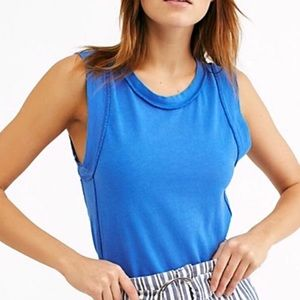 Free People Go To Dragonfly Blue Tank Top